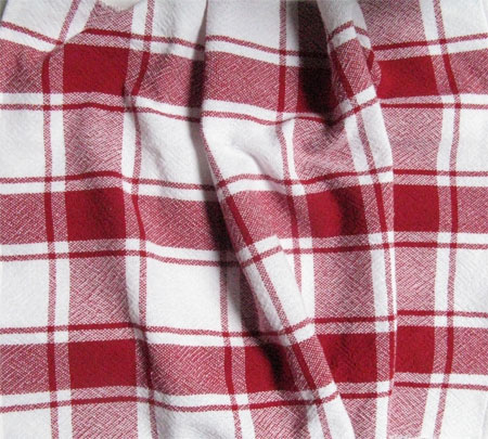handwoven red plaid towel