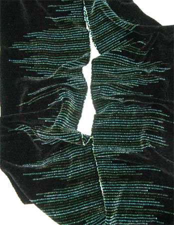 handwoven scarf with clasped weft, seaweed