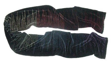 clasped weft handwoven scarf, single rainbow