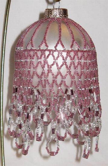 pink & silver Victorian ornament