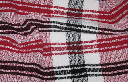 red, white, & black plain weave towels