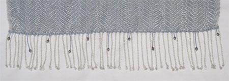 beaded end of silk shawl