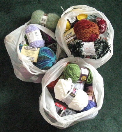 3 bags full of yarn