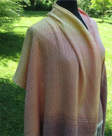 falling leaves silk shawl-length