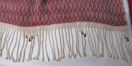 shawl with gemstone beaded fringe