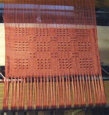 cashmere-silk on loom