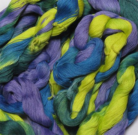 hand painted weft yarn