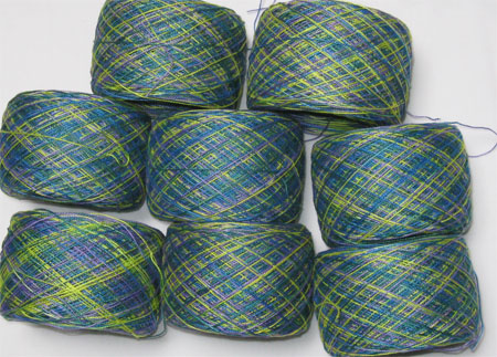 hand painted weft in balls