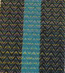 hand painted weft weaving close up