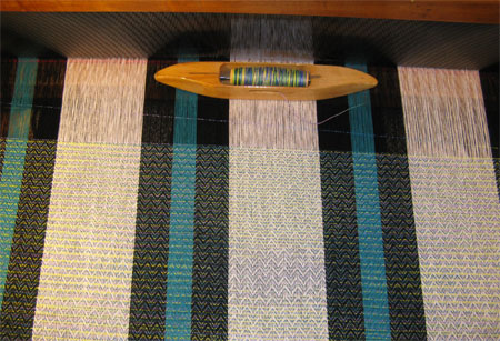 weaving with hand painted weft
