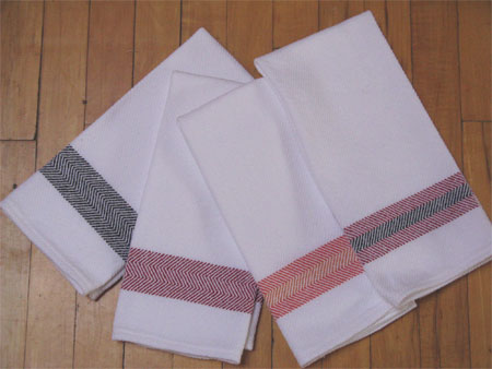 white towels with borders