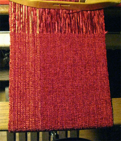 red rayon chenille scarf
