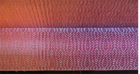 red gradients with silver weft