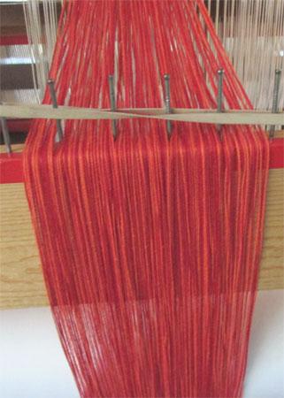 red & orange doubleweave pocket warp