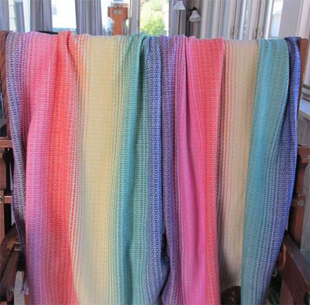 LY & EK draped over the loom