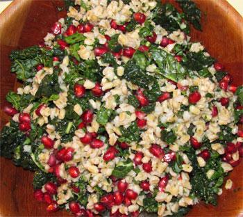 barley, kale & pomegranate salad