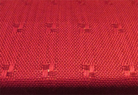 weaving red spots-close up