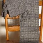 tencel scarf-black & white shadow twill