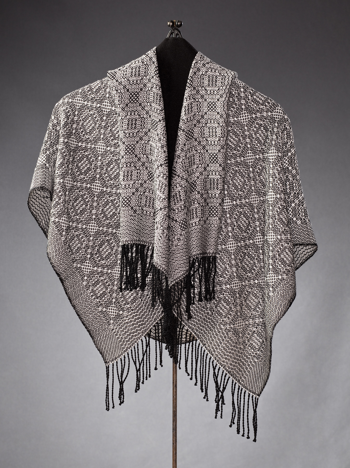 black and white silk shawl