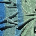 handwoven rayon chenille scarf in blue and green