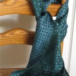 green & azure spots handwoven scarf