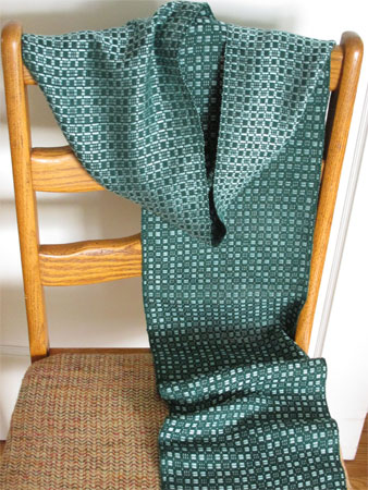 green on green spots handwoven scarf