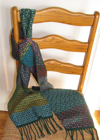 green scarf with multicolored spots handwoven scarf