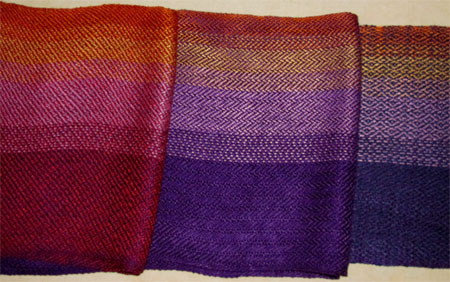 purple to gold handwoven scarves