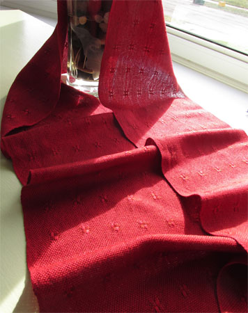 red spots rayon handwoven scarf