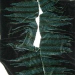 handwoven rayon chenille scarf in black and greens