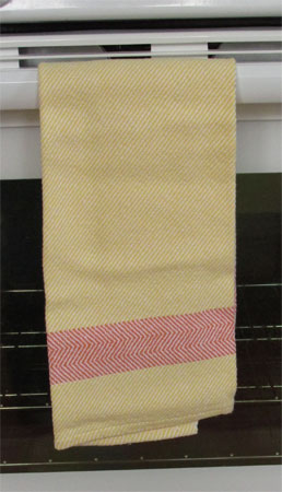 yellow towel with orange border