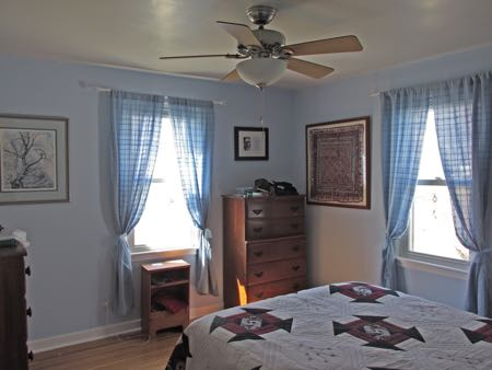 bedroom, painted with curtains