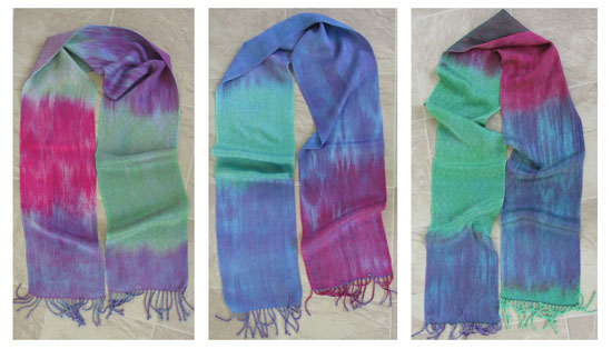 3 braided twill hand painted scarves