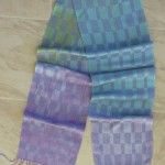 hand painted rayon, periwinkle weft