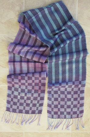 hand painted rayon, purple weft