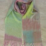 hand painted silk, celery cashmere-silk weft