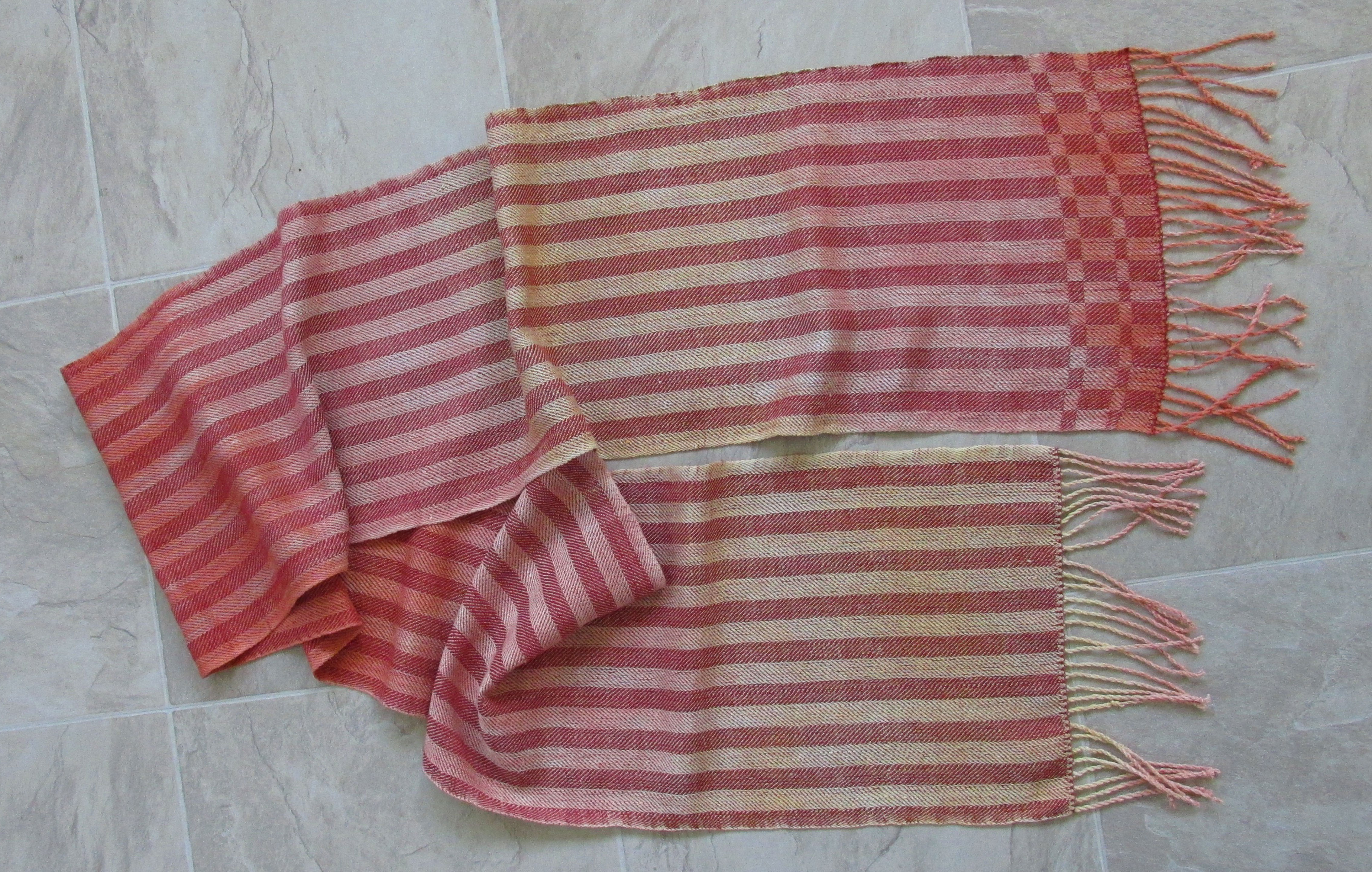 hand painted silk scarf with burgundy stripes