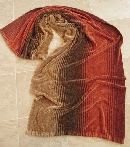 rayon chenille shawl, earth tones, dark