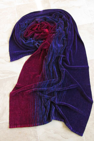 rayon chenille shawl-Warning purple