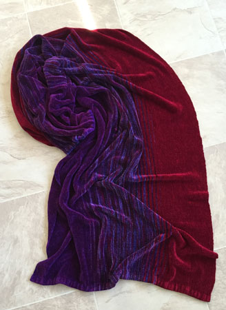 rayon chenille shawl: Warning-red