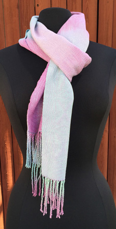 hand painted silk scarf, lavender snowflakes