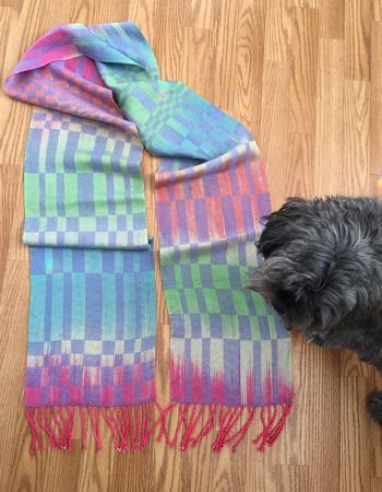 handpainted rayon scarf, periwinkle & fiesta