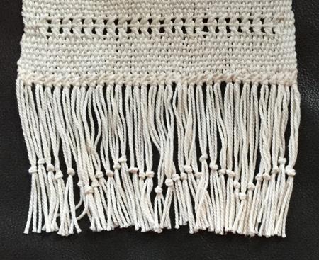 pima cotton scarf with undulating fringe