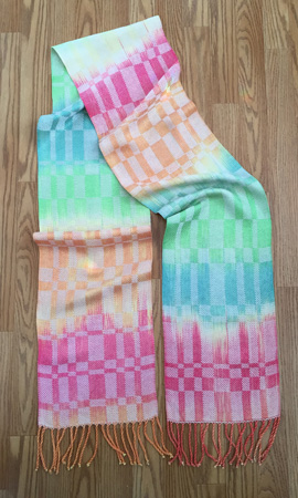 hand painted rayon scarf --- rainbow sherbet