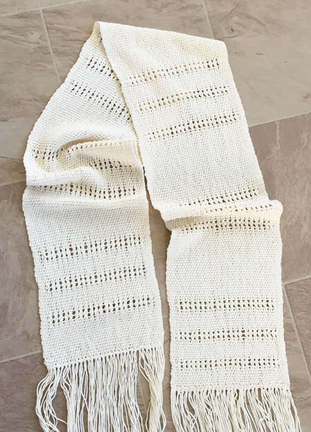 Pima cotton scarf with leno lace