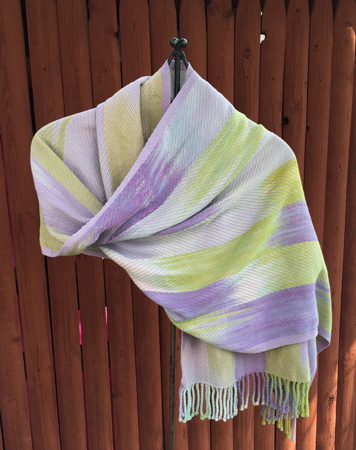 hand painted cotton shawl, lavender weft