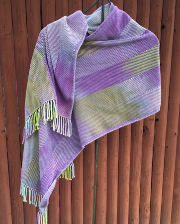 hand painted cotton shawl with purple weft