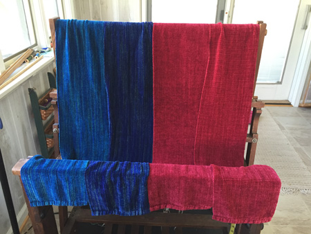 red and blue rayon chenille scarves