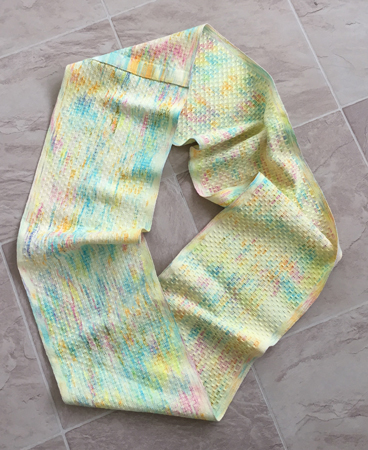 yellow speckled scarf