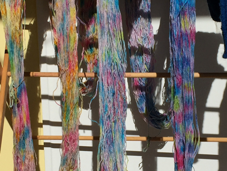 speckle dyed warp drying